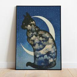 보석십자수 달과 고양이 DIY 픽스아트 큐빅 비즈 취미생활