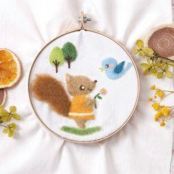 하마나카 양모펠트 작은다람쥐와 새 자수키트