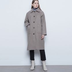 W221 single collar wool coat dark beige