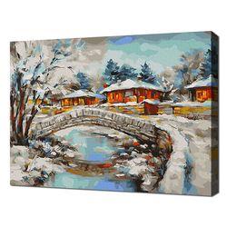 [명화그리기]4050 눈내린 마을 풍경 27색 풍경화