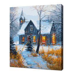 [명화그리기]4050 에이번리 마을-겨울 교회 26색 풍경화