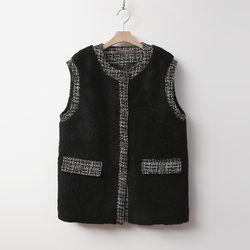 Tweed Shearling Vest - 누빔안감
