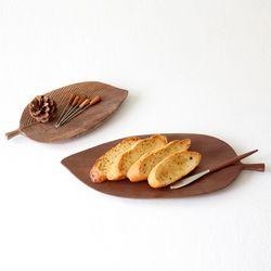 라 우드 나무 트레이 4type- walnut leaf
