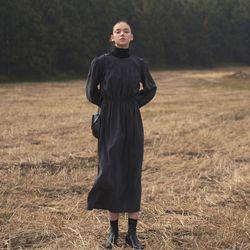 SHIRRING LONG DRESS BLACK