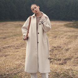 OVERSIZE HIDDEN WOOL COAT OATMEAL