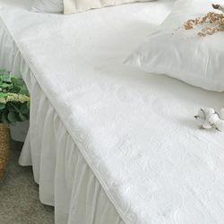 사계절 고급스러운 베일리 화이트 침대 패드 Q