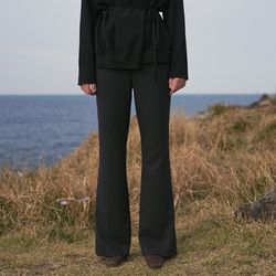 RETRO BOOTSCUT LONG SLACKS BLACK