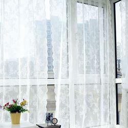양면 물결 로즈 레이스 커튼 완제품 (차박 커튼) 145x180cm