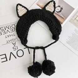 고양이 니트 귀도리(블랙)