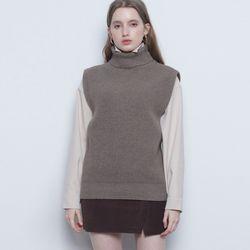 W110 wool havy pola knit vest brown