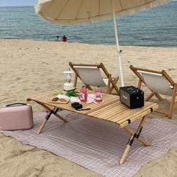 캠핑덕 접이식 우드 롤테이블 소
