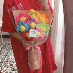 무지개 스마일꽃 인형 꽃다발