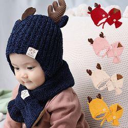 사슴뿔 유아 모자와 목도리 2종 세트(원사이즈)204285