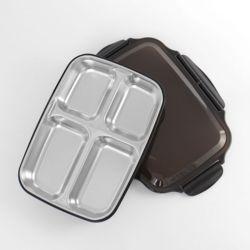 쿠킹박스 스텐 4구 식판도시락(26.5x19.5cm) (블랙)