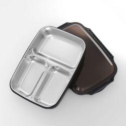 쿠킹박스 스텐 3구 식판도시락(26.5x19.5cm) (블랙)