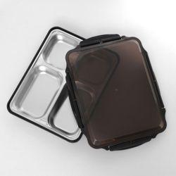 쿠킹박스 스텐 4구 식판도시락(31x25cm) (블랙)