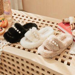 JM-663 진주털 여성 겨울 포근한 털 슬리퍼 실내화