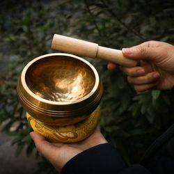 네팔 티벳 싱잉볼 씽잉볼 명상 도구 8.5cm+목봉+받침