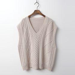 Cashmere Wool Twist V-Neck Vest