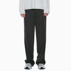 ESSENTIAL WIDE LONG SLACKS CHARCOAL