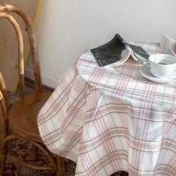 쉐어캐롤체크 식탁보 테이블보 120x120cm