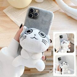 아이폰12 11 pro max xs 8 고양이 인형 벨벳 털케이스