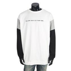 [쿠비코]레터링 숄더 배색 긴팔 남성티 MZ014