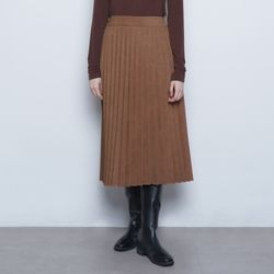 W327 winter pleated iong skirt camel