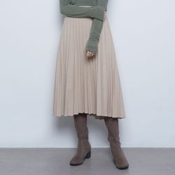 W327 winter pleated iong skirt beige