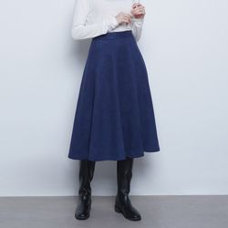 W19 bang suede flare skirt navy