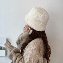 보들 밍크 페이크퍼 숏 겨울 벙거지 버킷햇 털 모자
