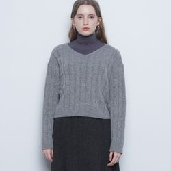 W212 lamswool crop knit gray