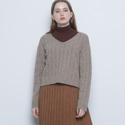 W212 lamswool crop knit brown