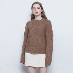 W225 alpaca twister round knit brown