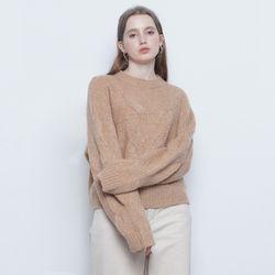 W225 alpaca twister round knit beige