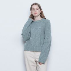 W225 alpaca twister round knit mint