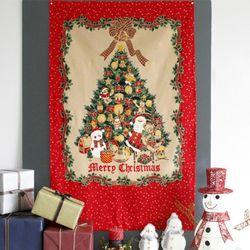 레트로 크리스마스 트리 패브릭 포스터 2type