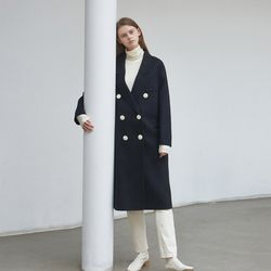 point snap handmade coat - navy