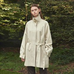 wide collar trench coat - ivory