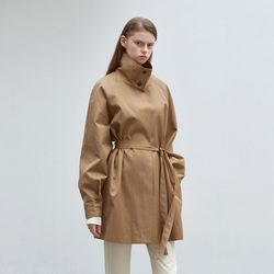 wide collar trench coat - beige