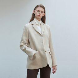 wool classic single jacket - ivory