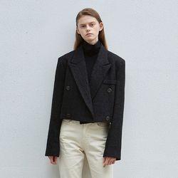 sensual tweed crop jacket - black