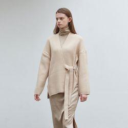 strap point knit cardigan - beige