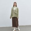strap point knit cardigan - olive