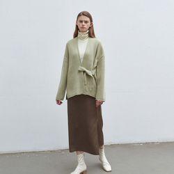 strap point knit cardigan - olive