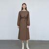unique wrap long dress - brown