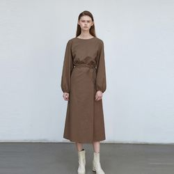 unique wrap long dress - brown