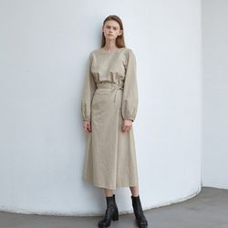unique wrap long dress - beige