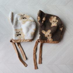뽀글이 양털 곰돌이 보넷 벙거지 모자 (2color)