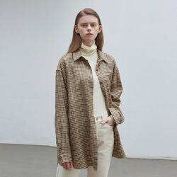 plaid overfit shirts - beige check